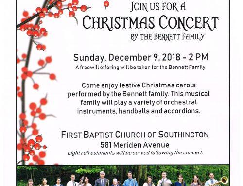 Bennett Family Christmas Concert on Dec. 9